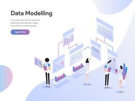 Zielseitenschablone von Daten, die isometrisches Illustrations-Konzept modellieren. Isometrisches flaches Konzept des Entwurfes des Webseitendesigns für Website und bewegliche Website Auch im corel abgehobenen Betrag