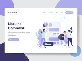 Målsida mall av Gilla och Kommentar Illustration Concept. Modernt plattdesignkoncept av webbdesign för webbplats och mobilwebbplats. Vektorns illustration vektor