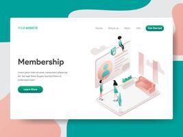 Målsida mall för medlemskaps illustration koncept. Isometrisk designkoncept för webbdesign för webbplats och mobilwebbplats. Vektorns illustration vektor
