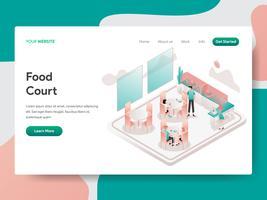 Målsida mall av Food Court Illustration Concept. Isometrisk designkoncept för webbdesign för webbplats och mobilwebbplats. Vektorns illustration