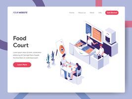Målsida mall av Food Court Illustration Concept. Isometrisk plattformkoncept för webbdesign för webbsidor och mobilwebbplats. Vector illustration EPS 10