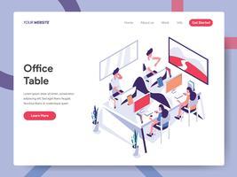 Landingpage-Vorlage von Office Table Illustration Concept. Isometrisches flaches Konzept des Entwurfes des Webseitendesigns für Website und bewegliche Website Vektorillustration ENV 10