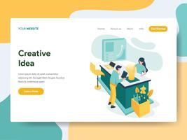 Målsida mall för Creative Idea Illustration Concept. Modernt plattdesign koncept av webbdesign för webbplats och mobil website.Vector illustration