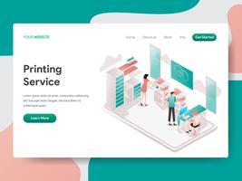 Målsida mall för utskriftstjänst illustration koncept. Isometrisk designkoncept för webbdesign för webbplats och mobilwebbplats. Vektorns illustration