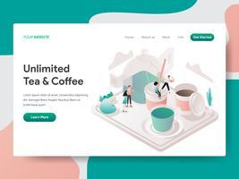 Landungseitenschablone des freien Tee-und Kaffee-Illustrations-Konzeptes. Isometrisches Konzept des Entwurfes des Webseitenentwurfs für Website und bewegliche Website Auch im corel abgehobenen Betrag