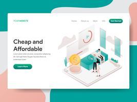Målsida mall av billiga och prisvärda illustration koncept. Isometrisk designkoncept för webbdesign för webbplats och mobilwebbplats. Vektorns illustration
