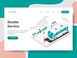 Målsida mall för Shuttle Service Illustration Concept. Isometrisk designkoncept för webbdesign för webbplats och mobilwebbplats. Vektorns illustration