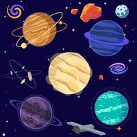 Sats av tecknad planeter och rymdelement. Vektor illustration
