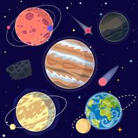 Sats av tecknad planeter och rymdelement inklusive Earth, Moon och Jupiter. Vektor illustration