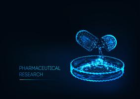 Farmaceutisk forskning koncept med medicin piller och Petri maträtt och text isolerad på mörkblå.