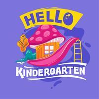 Hallo Kindergarten-Phrase mit bunter Illustration. Zurück zu Schulzitat