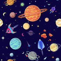 Seamless mönster av planeter i öppet utrymme. Vektor illustration tecknad stil