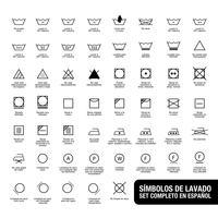 Kompletter Satz Wäschesymbole. Geschrieben in Spanisch.