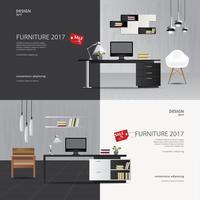 Zwei Fahnen-Möbel-Verkaufs-Design-Schablonen-Vektor-Illustration