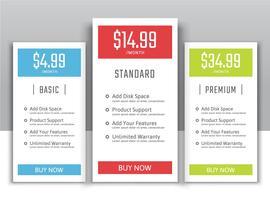 Preispläne für Websites und Anwendungen vektor