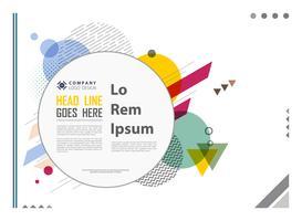Modernes Design des abstrakten geometrischen bunten Musters mit Kreisraum des Textes.