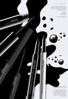 Kosmetischer Eyeliner mit Verpackungsplakat-Design-Vektor-Illustration vektor