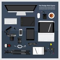 Kreativer und Grafikdesign-Werkzeug-Arbeitsplatz lokalisierte Vektorillustration