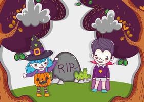 Halloween söta teckningar vektor