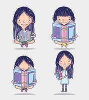 Mädchen und Bücher vektor