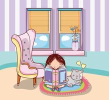 Mädchen mit Büchern Cartoons vektor