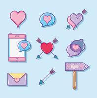 Sats av kärlek och hjärtan teckningar