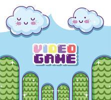 Retro videogame landskap vektor