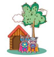 Superhero djurteckningar
