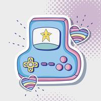 Retro Konsolenkarikatur des Videospiels vektor