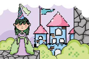 Niedliche pixelige Videospiel-Fantasielandschaft
