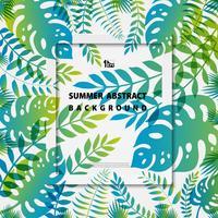 Abstrakt färgglada naturliga sommarblad dekoration på vit mall bakgrund. illustration vektor eps10