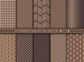 Abstrakt art deco mönster set bakgrund. vektor
