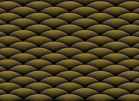 Abstraktes goldenes gewelltes Luxusdesignmuster auf schwarzem Hintergrund von Art Deco. Abbildung Vektor eps10