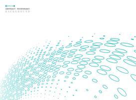 Abstraktes geometrisches Kreishalbtonbild der blauen Technologie schließen an.