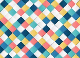 Abstraktes buntes quadratisches geometrisches Musterdesignpapier schnitt Dekorationshintergrund. Abbildung Vektor eps10
