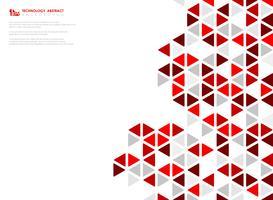 Abstrakter roter Würfel der geometrischen sechseckigen niedrigen Musterdesigntechnologie. Abbildung Vektor eps10