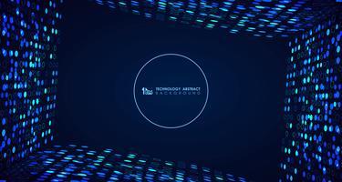 Abstrakt bred blå teknik cirkel prickar mönster rad digital täckning bakgrund. illustration vektor eps10