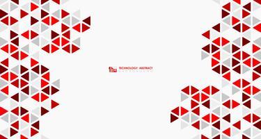 Abstrakter breiter roter Würfel der geometrischen sechseckigen niedrigen Musterdesigntechnologie. Abbildung Vektor eps10