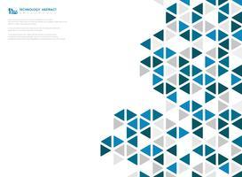 Abstrakter blauer Würfel der geometrischen sechseckigen niedrigen Musterdesigntechnologie. Abbildung Vektor eps10