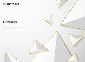 Abstrakt gradient vit triangel polygon mönster med gyllene ram bakgrund. vektor