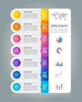 Tidslinje infografisk affärsidé med 7 alternativ.