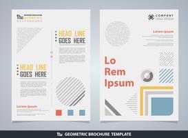 Abstrakt färgrik geometrisk broschyr med text.