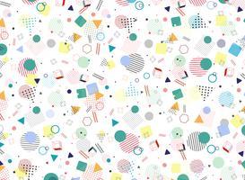 Moderna Memphis geometriska färgstarka mönster stil form bakgrund. Dekorera i abstraktionsdesign konstverk för annons, affisch, omslag, konstverk.