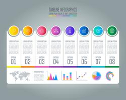 Tidslinje infografisk affärsidé med 8 alternativ.