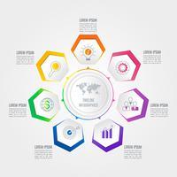 Infographik Design Geschäftskonzept mit 7 Optionen.