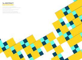 Abstrakta färger kvadratisk pappersskuren mönster modern design i gul, blå på vit bakgrund. Du kan använda för pappersklippning av affisch, annons, omslag, konstverk, årsrapport.