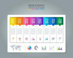 Infographic Geschäftskonzept der Zeitachse mit 8 Wahlen.