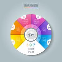 Tidslinje infografisk affärsidé med 6 alternativ.