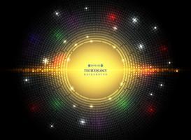 Sammanfattning av mörk cirkel kvadrat mönster teknik i futuristisk färgstark teknik med mix fläckar av ljus färg bakgrund.