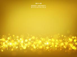 Sammanfattning av golden glitters bokeh på guldgradient bakgrund.